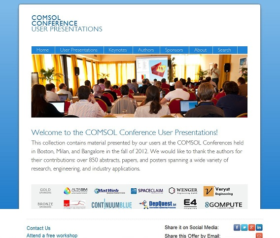 COMSOL Conference User Presentations 2012