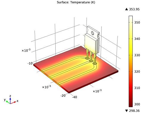 Power transistor temperature distribution