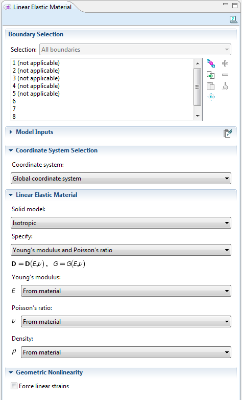 Settings window for the material model in the Shell interface
