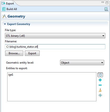 Geometry export: Enter file name and export