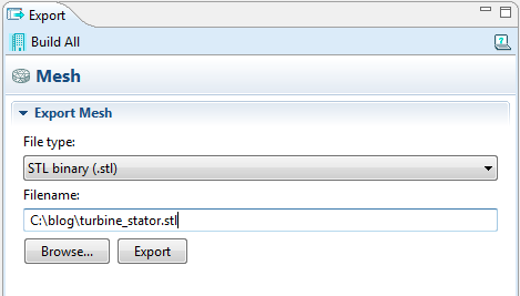 Mesh export: Enter file name and export