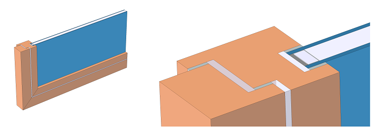A diagram and zoom-in depicting a window frame's cross section and glazing