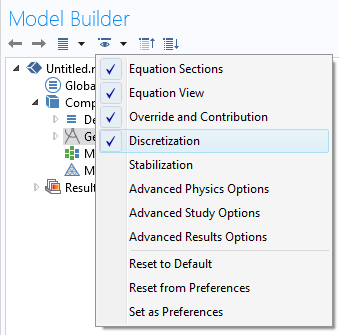 Screenshot of selecting discretization in the Model Builder of COMSOL Multiphysics