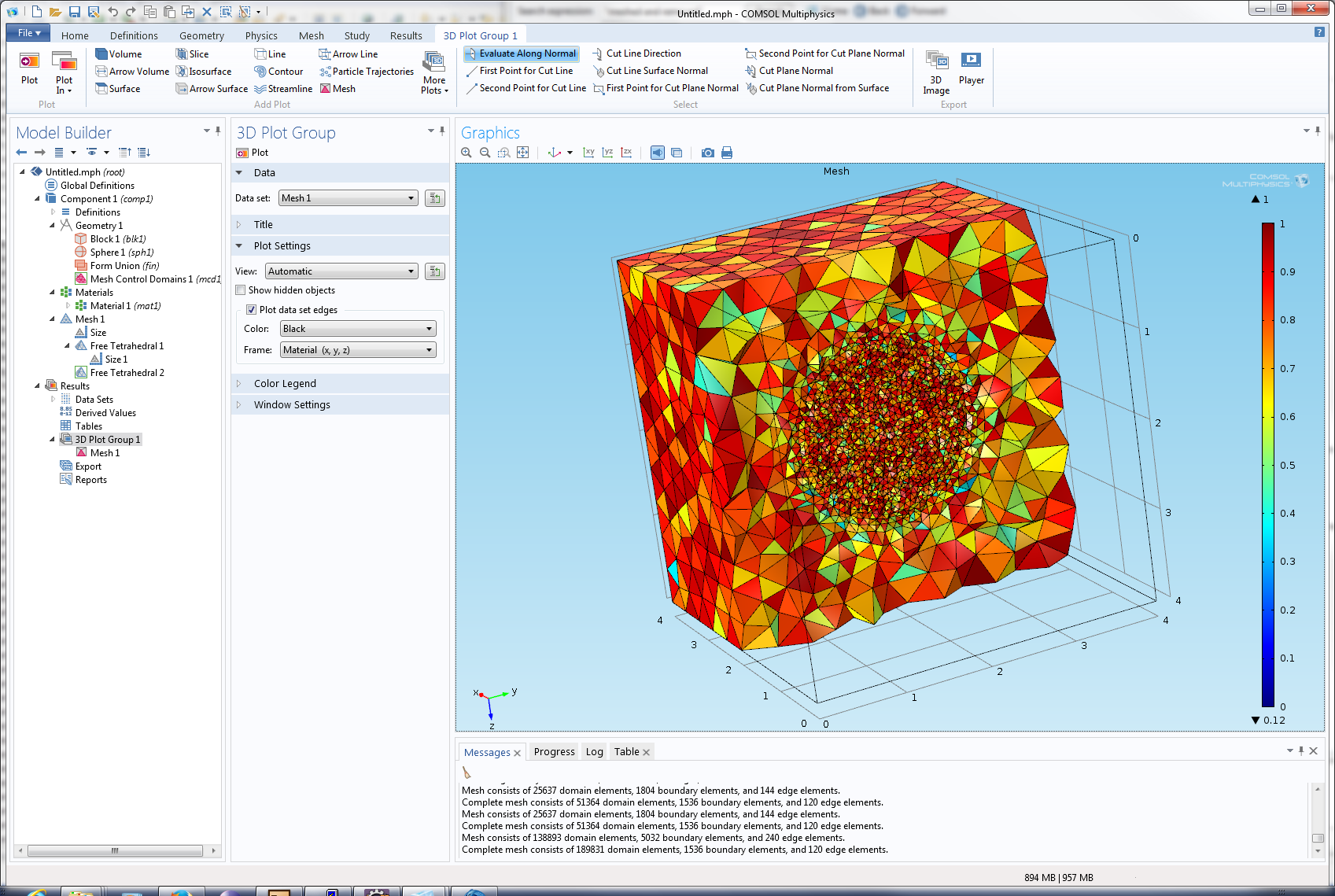 3D Mesh refinement within a domain