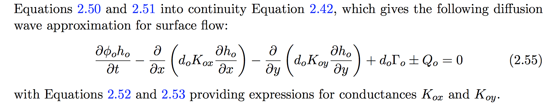 How to Write 2D diffusive wave equation in PDE form