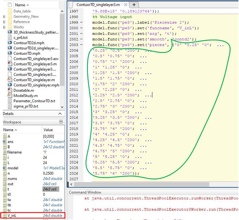 Issue for converting Matlab values instead of Comsol syntax