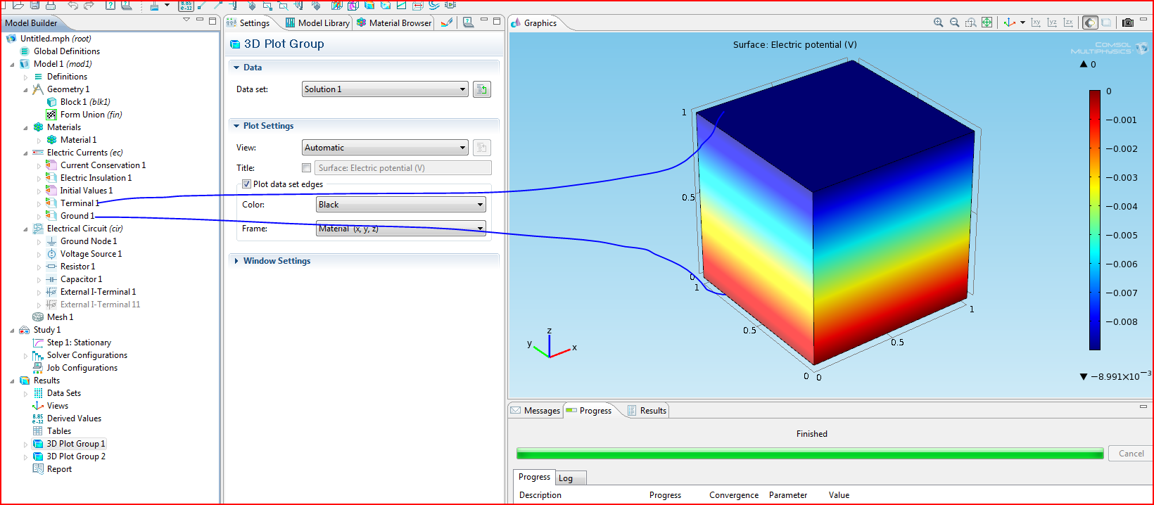 Placing A Finite Element Model Into An Electrical Circuit In Comsol 41 Ac With Dependent Voltage And Current Sources Physics Forums Snip1