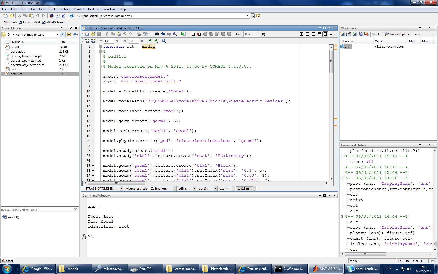 Control Comsol with Matlab