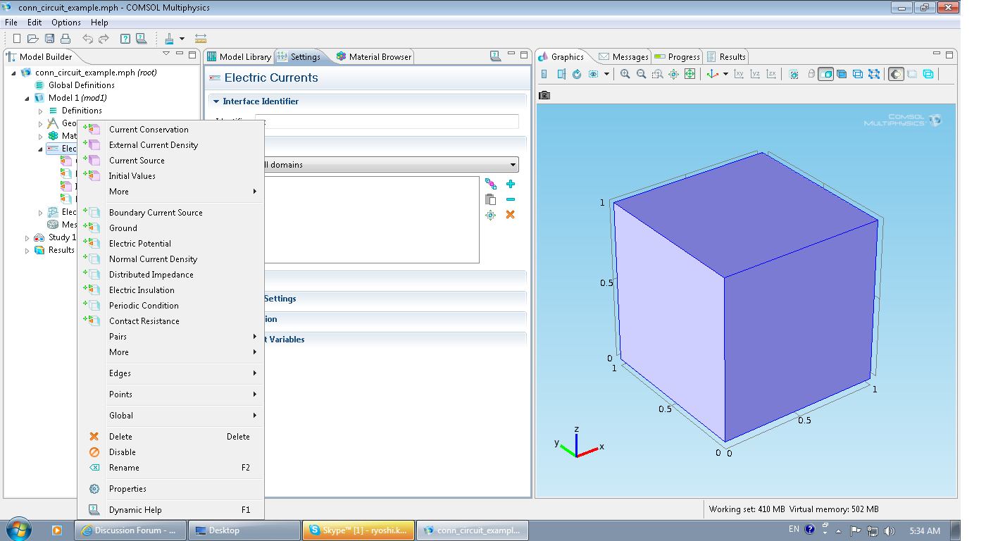 Placing A Finite Element Model Into An Electrical Circuit In Comsol 41 Parallel Definition No Terminal Feature